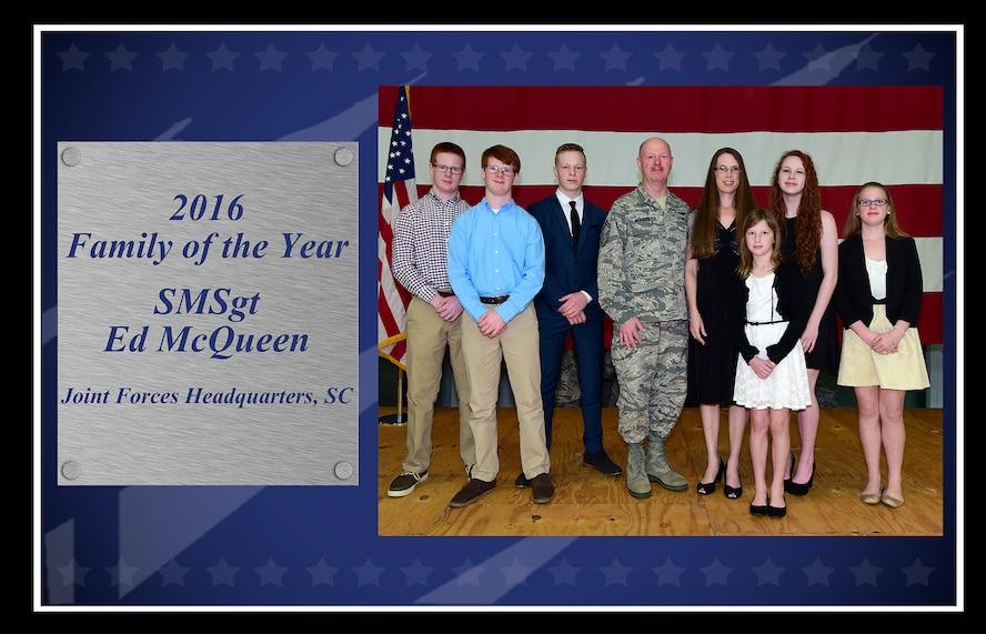 U.S. Air Force Senior Master Sgt. Ed McQueen with Joint Forces Headquarterts-S.C., is photographed with his family Feb 12, 2017. The McQueen family was selected as the 2016 South Carolina Air National Guard Family of the Year. (U.S. Air National Guard photo LAYOUT by Master Sgt. Caycee Watson)