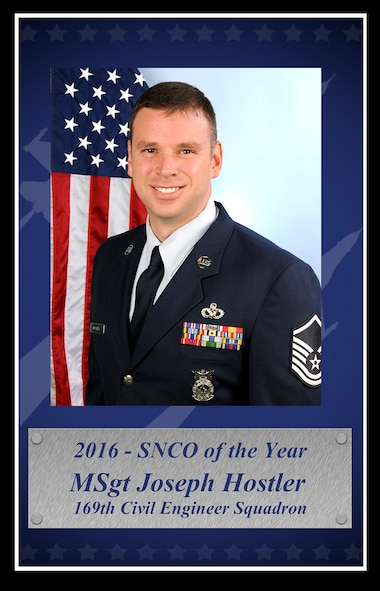 U.S. Air Force Master Sgt. Joseph Hostler with the 169th Civil Engineer Squadron at McEntire Joint National Guard Base, poses for a portrait as the 2016 South Carolina Air National Guard Traditional Senior NCO of the Year, January 7, 2017.  (U.S. Air National Guard photo by Airman 1st Class Megan R. Floyd)