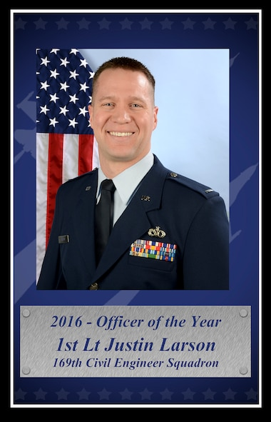 U.S. Air Force 1st Lt. Justin Larson with the 169th Civil Engineer Squadron at McEntire Joint National Guard Base, poses for a portrait as the 2016 South Carolina Air National Guard Officer of the Year, February 12, 2017. (U.S. Air National Guard photo by Senior Airman Megan Floyd)