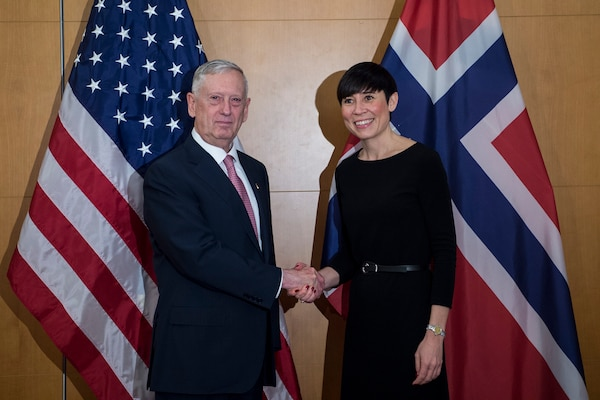 Defense Secretary Jim Mattis meets with Norwegian Defense Minister Ine Eriksen Søreide before attending the Munich Security Conference in Germany, Feb. 17, 2017. DoD photo by Air Force Tech. Sgt. Brigitte N. Brantley