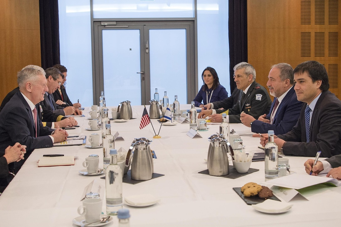Defense Secretary Jim Mattis, left, conducts a bilateral meeting with Israeli Defense Minister Avigdor Lieberman before attending the Munich Security Conference in Germany, Feb. 17, 2017. DoD photo by Air Force Tech. Sgt. Brigitte N. Brantley