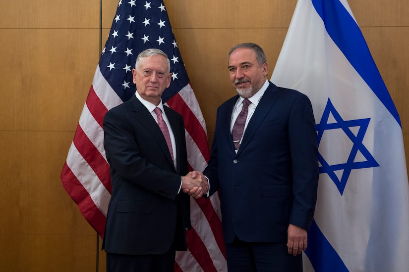 Defense Secretary Jim Mattis, left, meets with Israeli Defense Minister Avigdor Lieberman before attending the Munich Security Conference in Germany, Feb. 17, 2017. DoD photo by Air Force Tech. Sgt. Brigitte N. Brantley