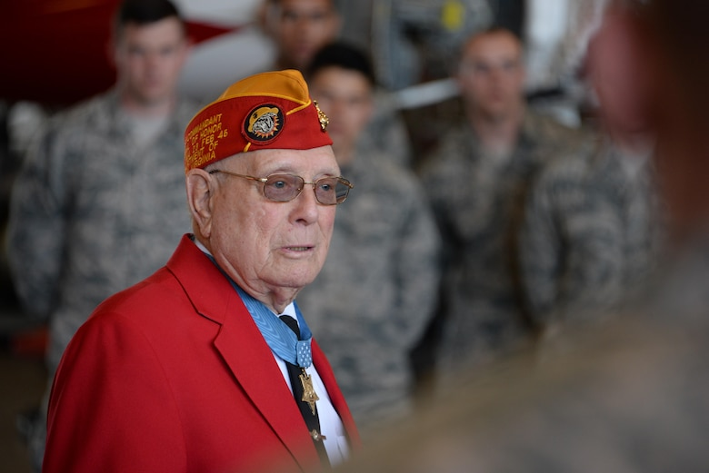 "Hershel ""Woody"" Williams, Medal of Honor recipient, speaks to Airmen at Sheppard Air Force Base, Texas, Feb. 17, 2017. Williams took a detour from the Iwo Jima Reunion to visit with Airmen and speak about the courage and sacrifice displayed by men and women in uniform. Williams was a corporal in the Marine Corps Feb. 21, 1945, when he used a flame thrower to clear Japanese fighting positions while U.S. forces were taking the island of Iwo Jima. (U.S. Air Force photo by Senior Airman Robert L. McIlrath/Released)"