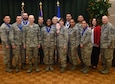 The 59th Medical Wing annual award winners pose for a photo with Maj. Gen. Bart Iddins, 59th MDW commander (first row, third left); Brig. Gen. John DeGoes, 59th MDW vice commander (back row, second left); and Chief Master Sgt. Ruben Vazquez, 59th MDW command chief (far right); Feb. 17, 2017, at the Gateway Club on Joint Base San Antonio-Lackland, Texas. (U.S. Air Force photo/Staff Sgt. Michael Ellis)