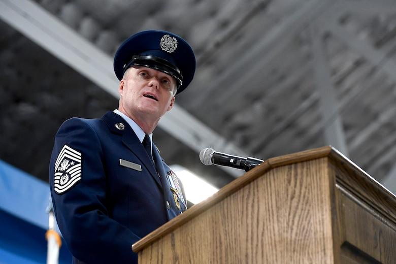 Chief Master Sgt. of the Air Force James A. Cody speaks to attendees during his retirement ceremony on Joint Base Andrews, Md., Feb. 17, 2017. Cody retires after 32 years of service and is succeeded by Chief Master Sgt. of the Air Force Kaleth O. Wright, the 18th Airman to hold this position. (U.S. Air Force photo/Scott M. Ash)