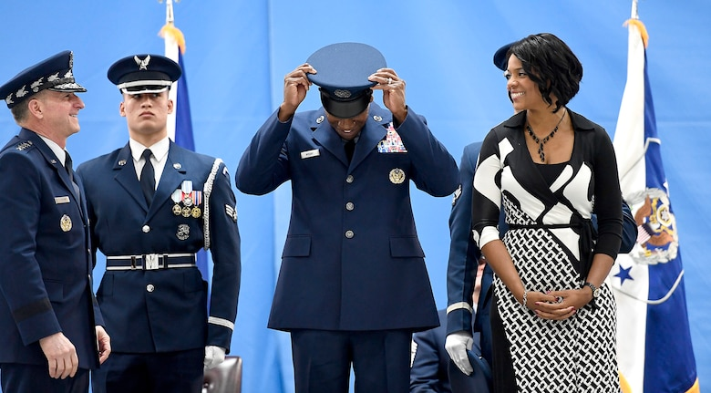 Chief Master Sgt. of the Air Force Kaleth O. Wright adjusts his new uniform hat for the first time during his appointment ceremony on Joint Base Andrews, Md., Feb. 17, 2017. Wright succeeds Chief Master Sgt. of the Air Force James A. Cody, who retires after 32 years of service, and he is the 18th Airman to hold this position. (U.S. Air Force photo/Scott M. Ash)
