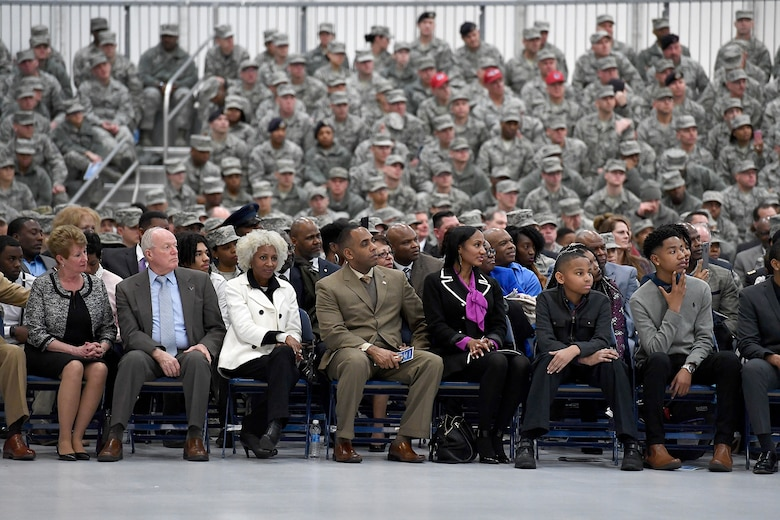 Family and friends of Chief Master Sgt. of the Air Force Kaleth O. Wright listen during his appointment ceremony on Joint Base Andrews, Md., Feb. 17, 2017. Wright succeeds Chief Master Sgt. of the Air Force James A. Cody, who retires after 32 years of service, as the 18th Airman to hold this position. (U.S. Air Force photo/Scott M. Ash)