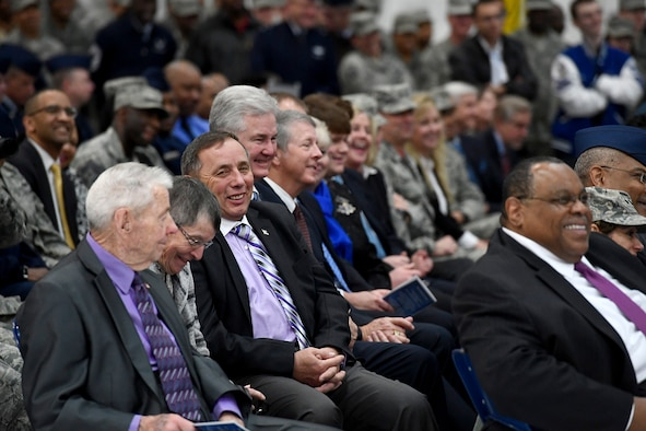 Some of the former Chief Master Sergeants of the Air Force attend a retirement and appointment ceremony in honor of Chief Master Sgt. of the Air Force James A. Cody and Chief Master Sgt. Kaleth O. Wright on Joint Base Andrews, Md., Feb. 17, 2017. Cody retires after 32 years of service and is succeeded by Wright, the 18th Airman to hold this position. (U.S. Air Force photo/Scott M. Ash)