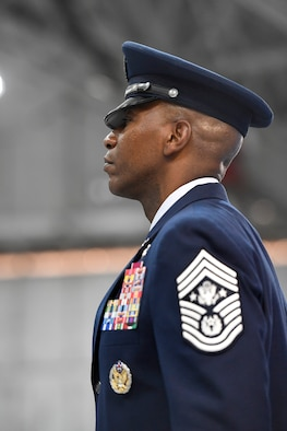 Chief Master Sgt. of the Air Force Kaleth O. Wright faces the audience during his appointment ceremony on Joint Base Andrews, Md., Feb. 17, 2017. Wright succeeds Chief Master Sgt. of the Air Force James A. Cody, who retires after 32 years of service, and he is the 18th Airman to hold this position. (U.S. Air Force photo/Scott M. Ash)