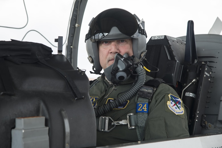 John Fedrico, deputy assistant Secretary of the Air Force for Reserve Affairs and Airman Readiness sits in a T-6 cockpit prior to take off on an orientation flight during a visit to Joint Base San Antonio-Randolph, Texas on Feb. 13. Fedrico's visit, hosted by the 340 FTG, served a dual purpose. Fedrico presented a letter of thanks to one of the unit's own, retired Air Force Lt. Col. Todd Ernst, for his efforts to help ensure families of Reserve and Guard service members receive the same survivor benefits as active duty service members. Fedrico also received a mission brief and got to experience the unit's operations first hand. (Air Force photo by Sean Worrell, Joint Base San Antonio-Randolph Public Affairs)