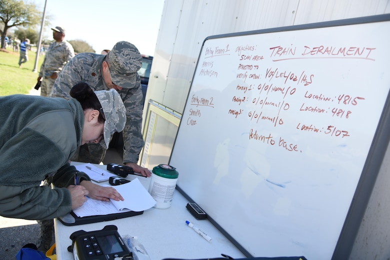 Maj. Daniel Schneider, 81st Aerospace Medicine Squadron bioengineering flight commander, and Senior Airman Tori Smith, 81st AMDS bioenvironmental technician, document perimeter readings during a train derailment exercise Feb. 16, 2017, on Keesler Air Force Base, Miss. The exercise scenario simulated a train and vehicle collision, which resulted in a derailment and chemical spill, creating a mass casualty and HAZMAT response event. This exercise tested base and local civilian emergency response organizations' ability to operate in a multi-agency and multi-jurisdiction crisis situation. (U.S. Air Force photo by Kemberly Groue)