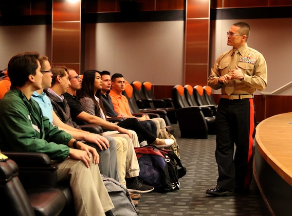 U.S. Marine Corps Director of Intelligence, Brig. Gen. William H. Seely III, speaks to Oklahoma State University Officer Candidates at Oklahoma State University, Feb 15. Seely spoke to the candidates about what it is like being a Marine and a leader.