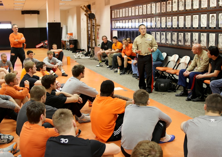 U.S. Marine Corps Director of Intelligence, Brig. Gen. William H. Seely III, speaks to the wrestling team near Gallagher-Iba Arena, Feb. 15. Seely, an OSU alumni, visited the NCAA Division I number one ranked Cowboys to motivate and inspire them before their National Wrestling Coaches Association National Duals Final, Feb. 19, against number two ranked Pennsylvania State University.