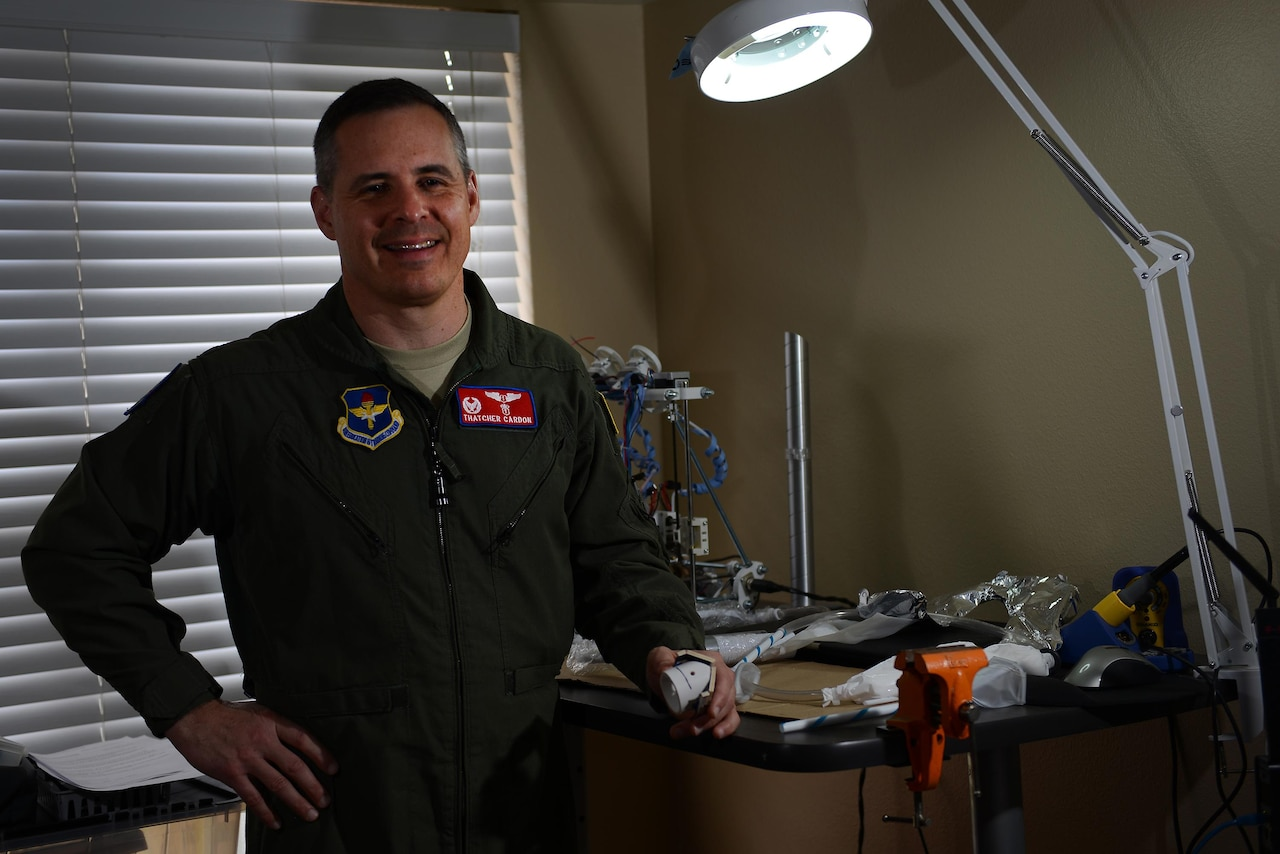 "Col. Thatcher Cardon, 47th Medical Group commander, won the National Aeronautics and Space Administration's Space Poop Challenge, beating more than 5,000 entries and winning $15,000. Cardon's invention, the ""perineal access port,"" allows astronauts to manage human waste in a space suit for up to six continuous days. (U.S. Air Force photo/Airman 1st Class Benjamin N. Valmoja)"