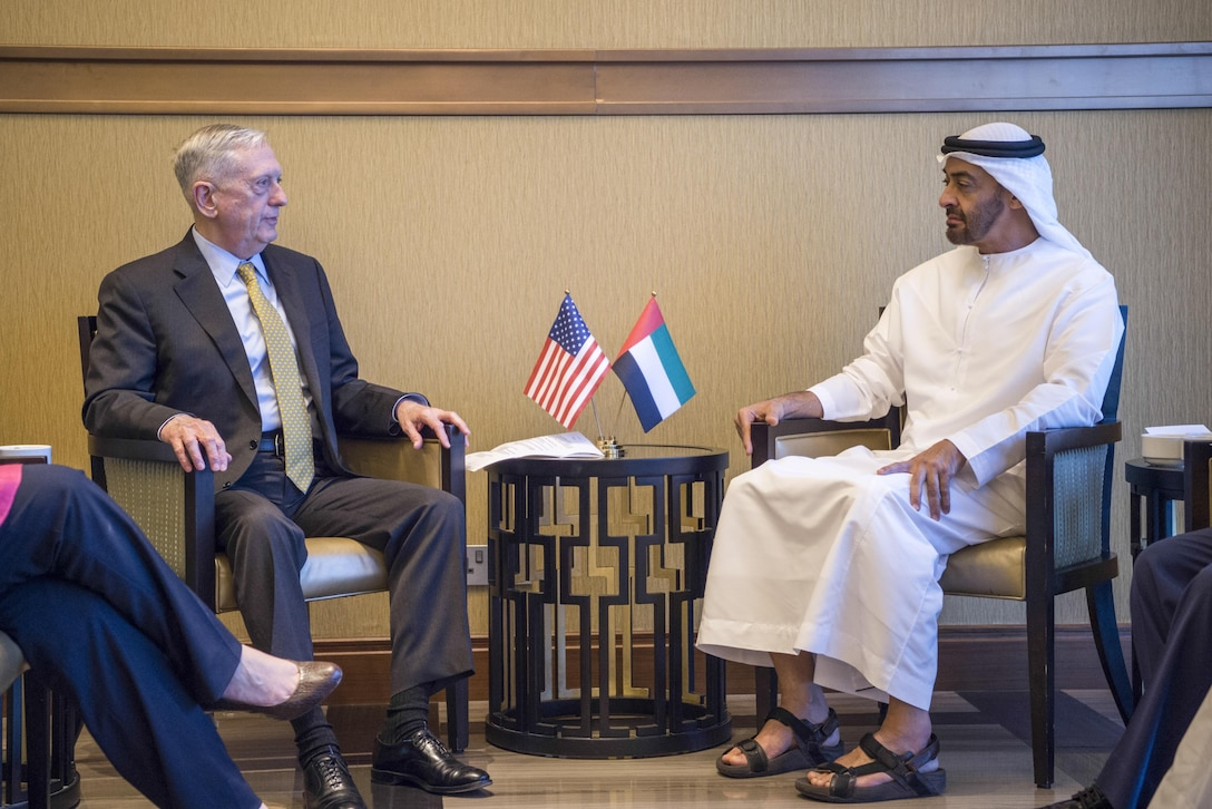Defense Secretary Jim Mattis meets with the United Arab Emirates' Crown Prince Mohammed bin Zayed bin Sultan Al Nahyan in Abu Dhabi.