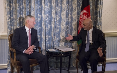 Secretary of Defense Jim Mattis meets with Afghan President Ashraf Ghani in Munich, Germany.