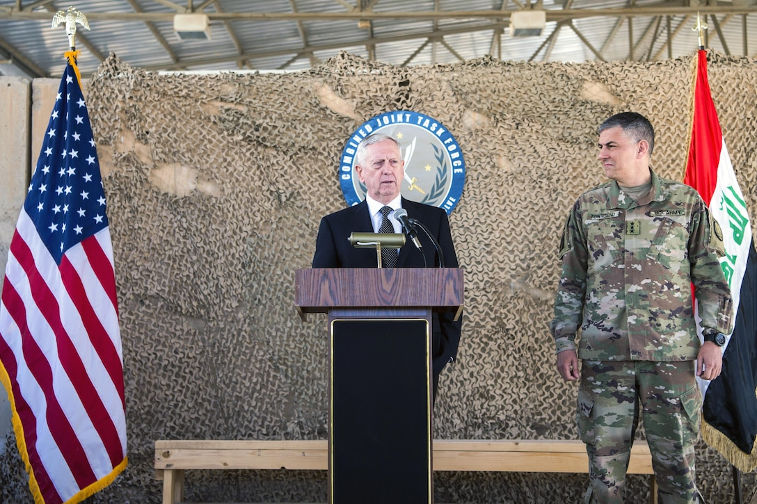 Defense Secretary Jim Mattis hosts a joint press conference with Army Lt. Gen. Stephen Townsend, commander of Combined Joint Task Force Operation Inherent Resolve, at Baghdad International Airport.