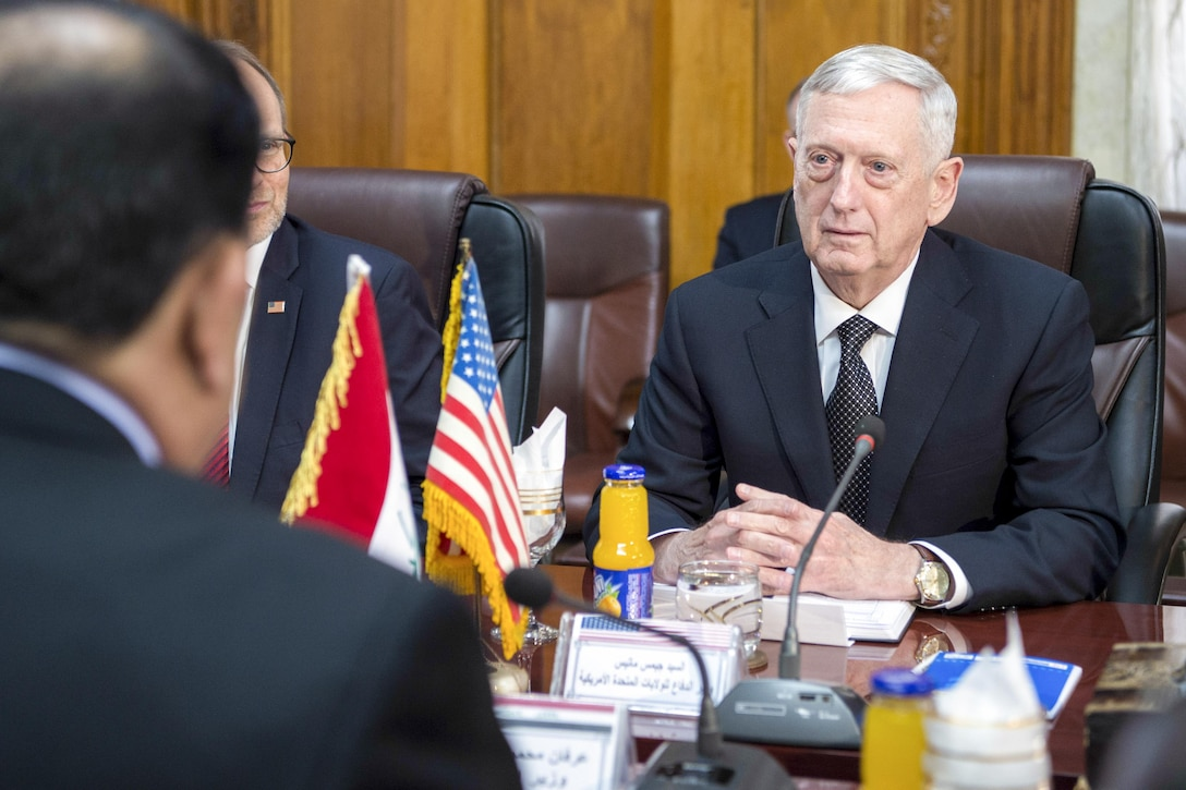 Defense Secretary Jim Mattis meets with Iraqi Minister of Defense Arfan al-Hayali at the Ministry of Defense in Baghdad, Iraq.