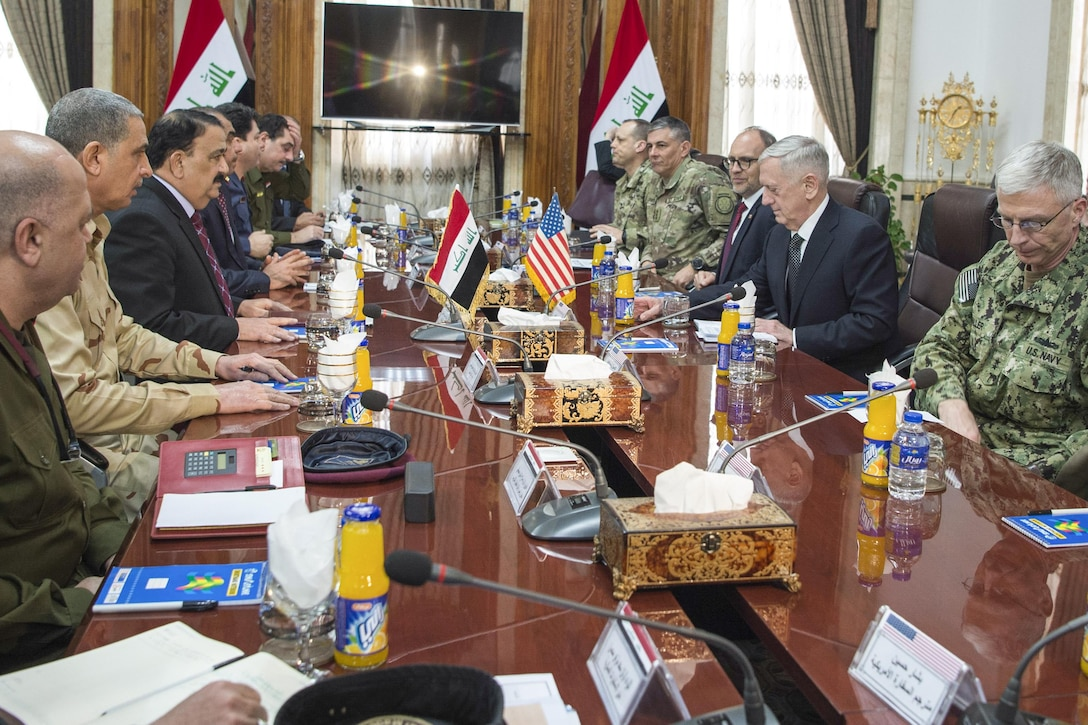 Defense Jim Mattis speaks with Iraqi Minister of Defense Arfan al-Hayali at the Ministry of Defense in Baghdad, Iraq.