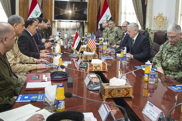 Defense Jim Mattis speaks with Iraqi Minister of Defense Arfan al-Hayali at the Ministry of Defense in Baghdad, Iraq, Feb. 20, 2017. DoD photo by Air Force Tech. Sgt. Brigitte N. Brantley