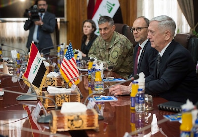 Defense Secretary Jim Mattis meets with Iraqi Defense Minister Arfan al-Hayali at the Ministry of Defense in Baghdad.