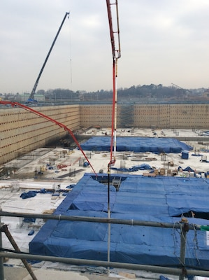 An overview of the construction progress on the United States Forces Korea Operations building set to be completed in 2020.