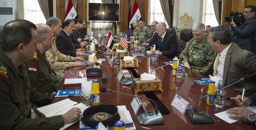 Secretary of Defense Jim Mattis meets with Iraqi Minister of Defense Arfan al-Hayali at the Ministry of Defense in Baghdad, Iraq, Feb. 20, 2017. (DOD photo by U.S. Air Force Tech. Sgt. Brigitte N. Brantley)
