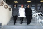 Dr. Aziza Jefferson, Dr. Valerie Nelson, and Dr. Philicity Williams in front of NSA's Fort Meade Headquarters. NSA photo