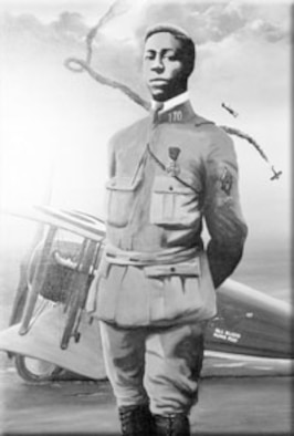 America's first black aviator, Eugene Jacques Bullard during World War I. (Photo courtesy of the Tinker History Office)