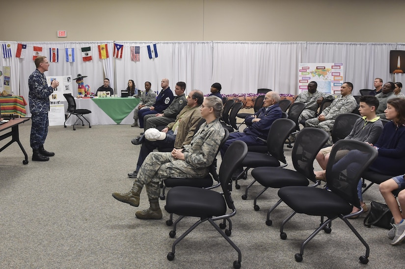 U.S. Navy CAPT Robert Hudson, Joint Base Charleston deputy commander, welcomes members of Team Charleston to Diversity Day at the JB Charleston Education Center Auditorium Feb. 17, 2017, at Joint Base Charleston, South Carolina. The JB Charleston Multicultural Committee hosted Diversity Day to bring awareness to cultural differences within the Air Force.