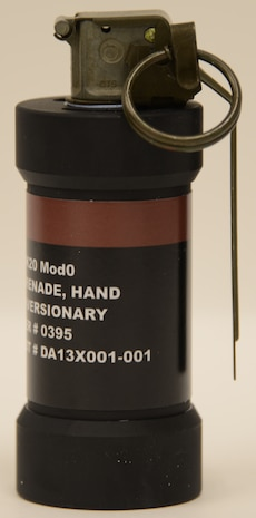 The improved flash-bang grenade uses very small quantities of thermobarric materials to provide a greatly enhanced flash intensity and duration to aid users in multiple mission sets. The Improved Flash-Bang Grenade has a reduced smoke output, enabling better situational awareness in dynamic environments.