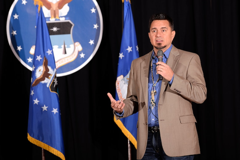 "D.J. ""Eagle Bear"" Vanas, a motivational speaker and member of the Odawa Nation, speaks to cadets and staff Feb. 16, 2017 at the Prayer Lunch hosted by the U.S. Air Force Academy. Vanas, a 1993 graduate of the Academy, spoke about the importance of accepting the spiritual practices of others and how a spiritual belief system can lead to holistic growth. (U.S. Air Force photo/Mike Kaplan)"