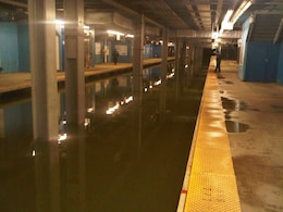 Flooded New York City subway system in the aftermath of Hurricane Sandy.