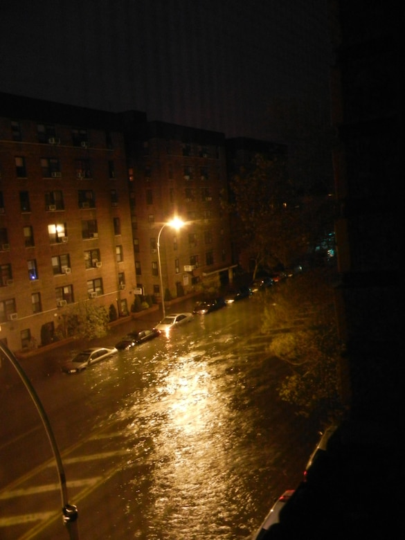 Storm surge in Sheepshead Bay, Brooklyn, NY during Hurricane Sandy.