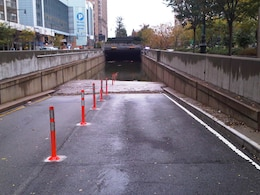 Entrance to the Battery Park Underpass in downtown New York City in the aftermath of Hurricane Sandy.
