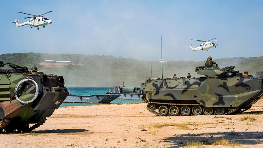 U.S., South Korean and Thai troops participate in an amphibious capabilities demonstration