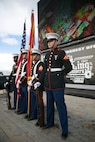 The Combat Center Color Guard Present the National and Marine Corps Colors prior to the King of the Hammers Race in Johnson Valley, Calif., Feb. 10, 2017. ( Official Marine Corps Photo by Cpl. Julio McGraw/ Released)