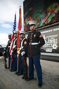 The Combat Center Color Guard Present the National and Marine Corps Colors prior to the King of the Hammers Race in Johnson Valley, California.