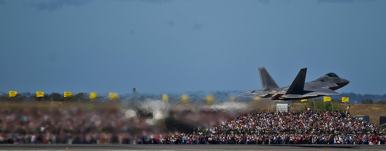 A U.S. Air Force F-22 Raptor from 94th Fighter Squadron Langley Air Force Base, Va., takes off to perform an aerial demonstration for an estimated 180,000 spectators at the Australian International Airshow, March 2, 2013, at Avalon Airport in Geelong, Australia. The Australian International Airshow 2013 (AIA13) is held biennially, and is one of the largest international trade shows in the Pacific. U.S. Pacific Command (USPACOM) participation in AIA13 directly supports theater engagement goals and objectives and further enhances relationships with other Pacific nations. (U.S. Air Force photo by Tech. Sgt. Michael R. Holzworth)