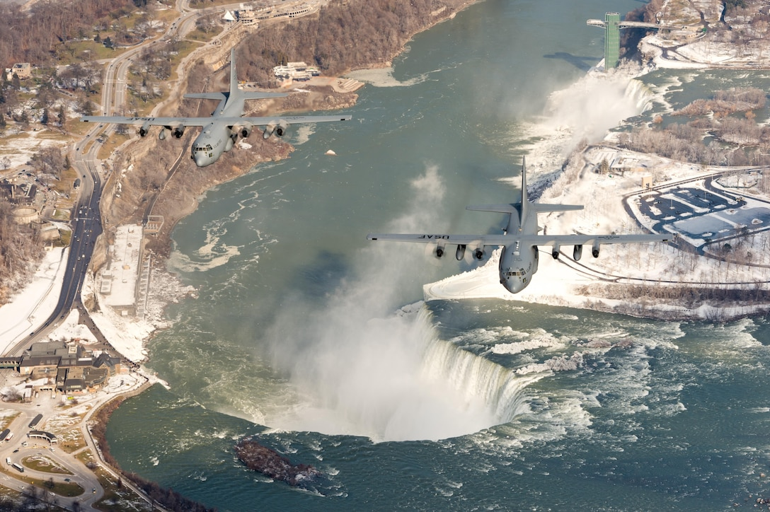 U.S. Air Force C-130 Hercules aircraft with the 914th Airlift Wing, Niagara Falls Air Reserve Station, N.Y., fly in formation over Niagara Falls, Feb 4, 2017. The 914th Airlift Wing is commemorating the departure of their C-130 Hercules aircraft as they transition in to becoming a Boeing KC-135 Stratotanker air refueling wing. (U.S. Air Force photo by Master Sgt. John R. Nimmo, Sr./Released)