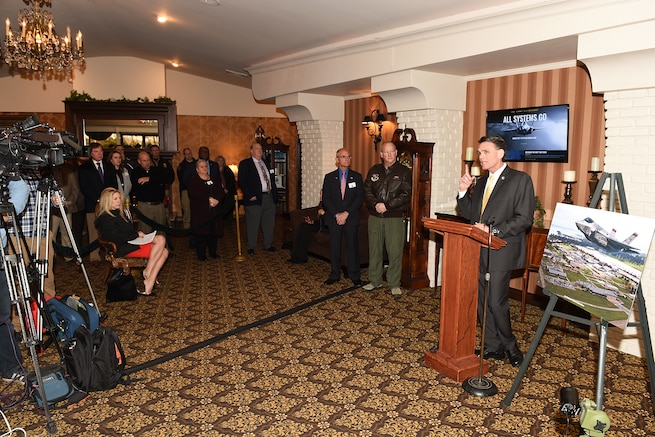 170221-Z-EZ686-019 -- Brig. Gen. John D. Slocum, 127th Wing Commander, and Mark Hackel, Macomb County Executive, discuss the F-35 at a press conference prior to the monthly Base Community Council meeting at Zuccaro's Banquet Center in Chesterfield, Mich., Feb. 21, 2017. The Macomb County Executive's office held the press conference to unveil the public website to inform the public on basing the Air Force's newest fighter jet at Selfridge. Selfridge was listed as one of five finalists in the Air Force's basing of the F-35 fifth generation fighter aircraft. If selected Selfridge would expect to see the new fighters in the year 2023 and would replace the A-10 Thunderbolt II. (U.S. Air National Guard photo by MSgt. David Kujawa)