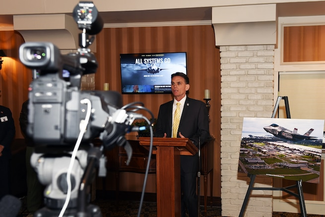 170221-Z-EZ686-012 -- Mark Hackel, Macomb County Executive, discusses the F-35 at a press conference prior to the monthly Base Community Council meeting at Zuccaro's Banquet Center in Chesterfield, Mich., Feb. 21, 2017. The Macomb County Executive's office held the press conference to unveil the public website to inform the public on basing the Air Force's newest fighter jet at Selfridge. Selfridge was listed as one of five finalists in the Air Force's basing of the F-35 fifth generation fighter aircraft. If selected Selfridge would expect to see the new fighters in the year 2023 and would replace the A-10 Thunderbolt II. (U.S. Air National Guard photo by MSgt. David Kujawa)