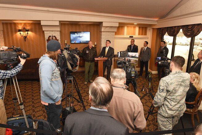 170221-Z-EZ686-031 -- Brig. Gen. John D. Slocum, 127th Wing Commander, and Mark Hackel, Macomb County Executive, discuss the F-35 at a press conference prior to the monthly Base Community Council meeting at Zuccaro's Banquet Center in Chesterfield, Mich., Feb. 21, 2017. The Macomb County Executive's office held the press conference to unveil the public website to inform the public on basing the Air Force's newest fighter jet at Selfridge. Selfridge was listed as one of five finalists in the Air Force's basing of the F-35 fifth generation fighter aircraft. If selected Selfridge would expect to see the new fighters in the year 2023 and would replace the A-10 Thunderbolt II. (U.S. Air National Guard photo by MSgt. David Kujawa)