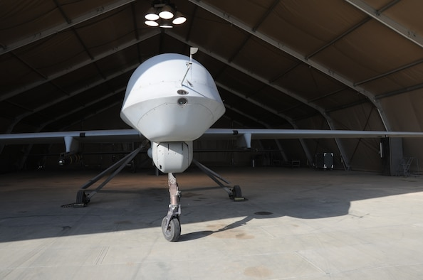 An MQ- 1 predator sits in a hangar Feb. 14, 2017 at an undisclosed location in Southwest Asia.  The 46th Expeditionary Reconnaissance Squadron flies the remotely piloted aircraft to destroy enemy targets and collect intelligence in support of Operation Inherent Resolve.  (U.S. Air Force photo/Tech. Sgt. Kenneth McCann)