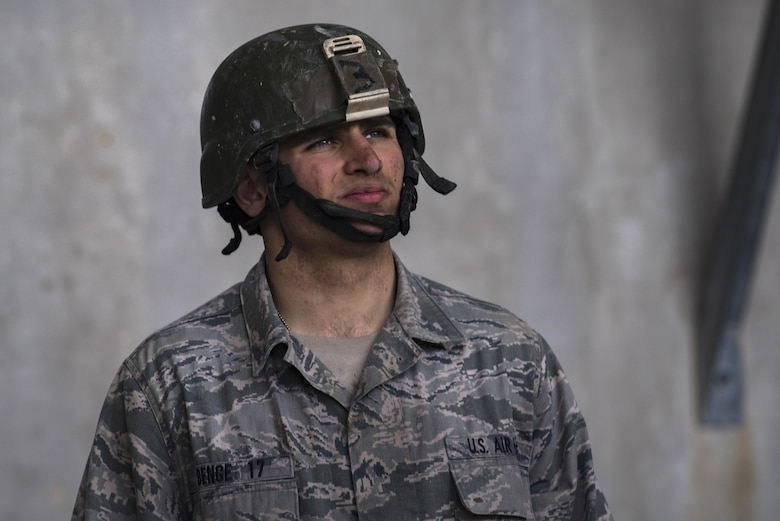 Air Force Academy Cadet Benge waits for his next instruction during an Air Liaison Officer Aptitude Assessment, Feb. 14, 2017, at Camp Bullis, Texas. The week-long assessment allows current ALOs and enlisted cadre to decide if the cadets are worthy of progressing to the Tactical Air Control Party school house. (U.S. Air Force photo by Airman 1st Class Daniel Snider)