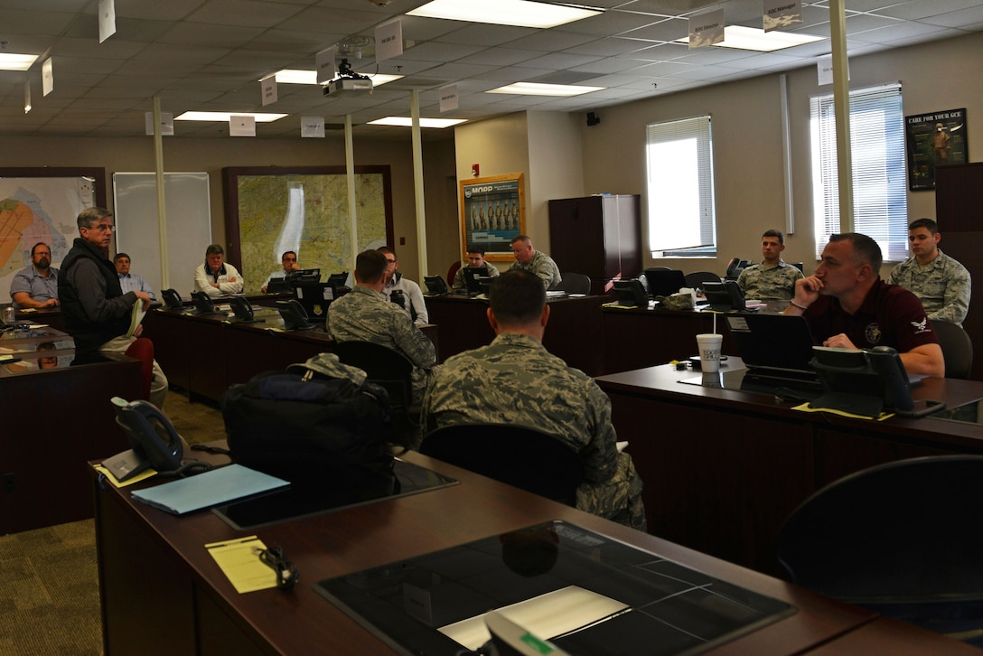 Teams from across the Air Force discuss logistics during an integration meeting at Shaw Air Force Base, S.C., Feb. 15, 2017. The surveyors visited Shaw after it was chosen as one of eight potential candidates for a Battlefield Airman schoolhouse. (U.S. Air Force photo by Airman 1st Class Destinee Sweeney)