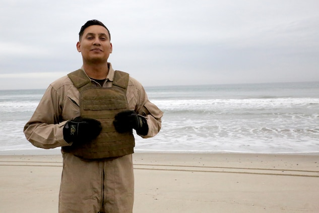 Sgt. Jose R. Chavez is an Amphibious Assault Vehicle Survivability Upgrade crew chief at Marine Corps Systems Command's Amphibious Vehicle Test Branch, located aboard Marine Corps Base Camp Pendleton, California. Marine amtrackers—a nickname for amphibious vehicle operators and maintainers—assigned to AVTB serve as test directors and executors for future amphibious vehicle platforms being developed for the Corps. (U.S. Marine Corps photo by Monique Randolph)