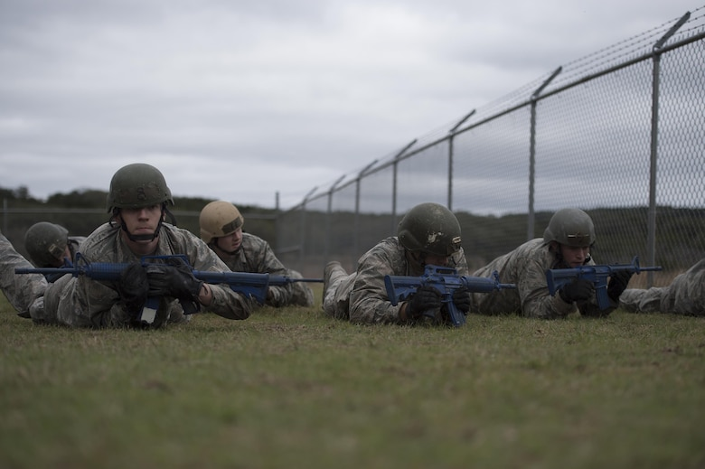 U.S. Air Force Academy cadets participate in a skills building exercise during the Air Liaison Officer Aptitude Assessment, Feb. 14, at Camp Bullis, Texas. The week-long assessment allows current ALOs and enlisted cadre to decide if the cadets are worthy of progressing to the Tactical Air Control Party school house. (U.S. Air Force photo by Tech. Sgt. Zachary Wolf)
