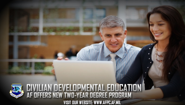 The Air Force is expanding development opportunities for the civilian workforce by offering an associate degree at little to no-cost. (U. S. Air Force graphic by Staff Sgt. Alexx Pons)