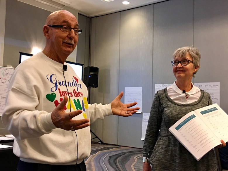 Larry and Vicky Daub, CRE facilitators married for 26 years, teach a lesson about hidden issues in relationships during the Center for Relationship Education military marriage retreat in Denver, Colorado, Sunday, Feb. 19, 2017. Larry and Vicky engaged in group discussions and teachings to encourage connectivity and community with the military couples in attendance. (U.S. Air Force photo/1st Lt. Darren Domingo)